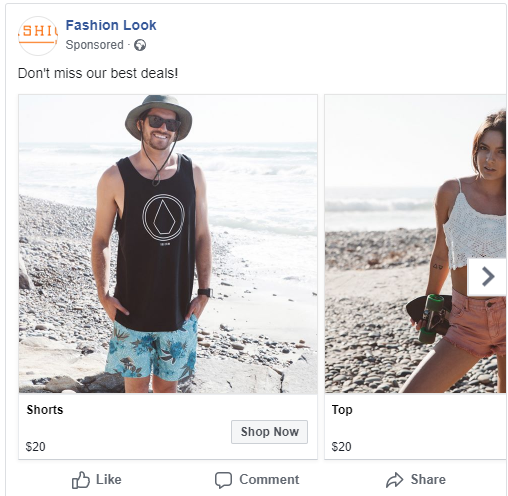Facebook Exemple d'annonce catalogue