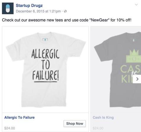 Réductions dans les annonces catalogue Facebook