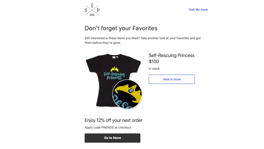 This image shows a sample of automated email in Ecwid that offers customers to shop their favorites