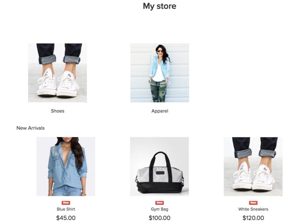 Menampilkan produk di homepage di Ecwid