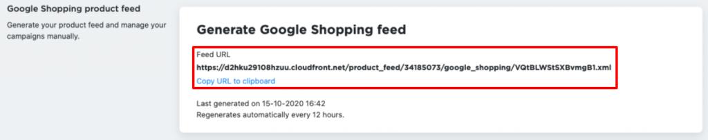Feed URL in Ecwid Control Panel
