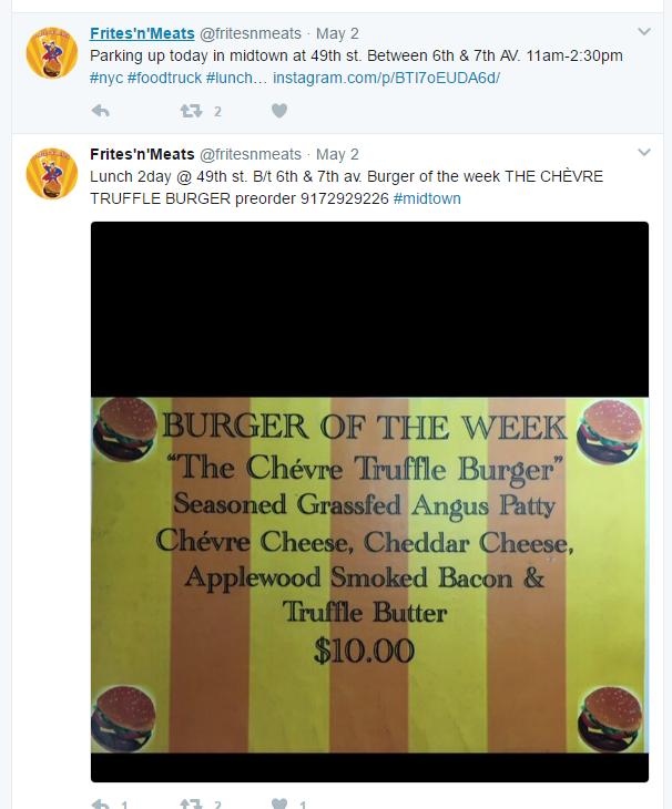 Pommes frites und Fleisch Twitter