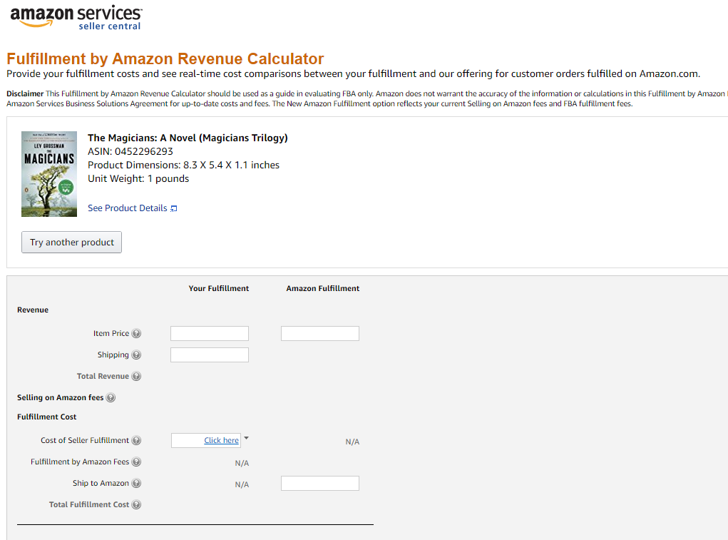 Expédié par Amazon calculatrice du revenu, Amazon
