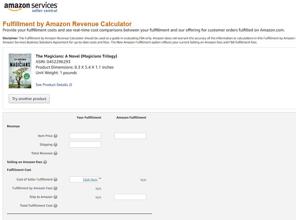 Fulfillment by Amazon Revenue calculator, Amazon