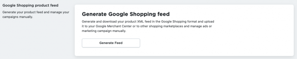 Generate Google Shopping Feed in Ecwid Control Panel
