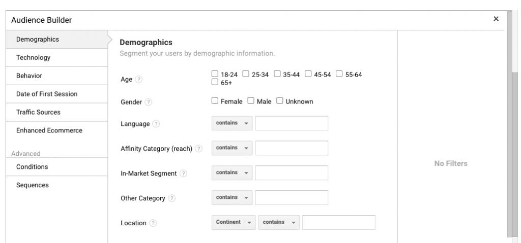 Audiens Kustom Google Analytics