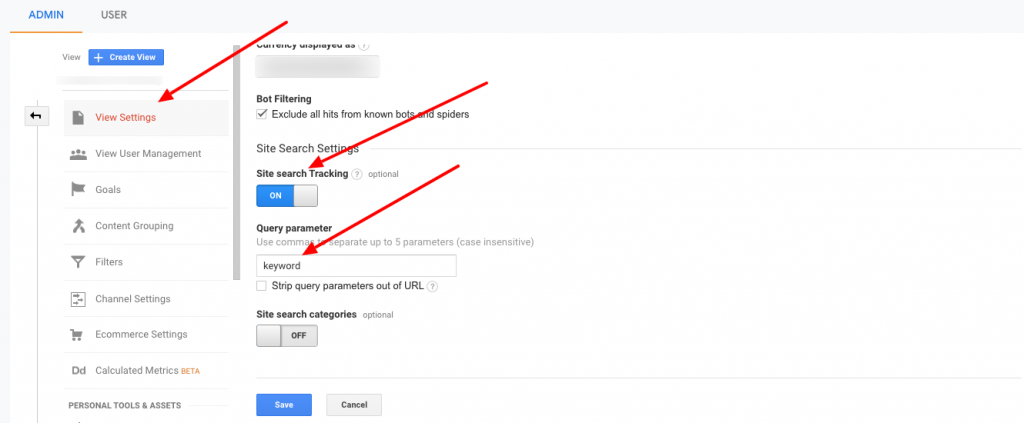 Google Analytics On-site Search Settings