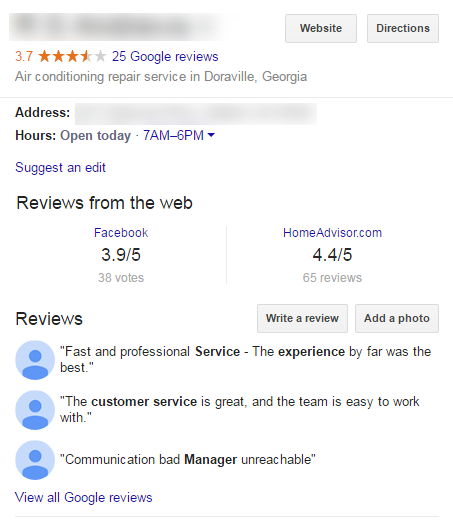 Google My Business panel with reviews