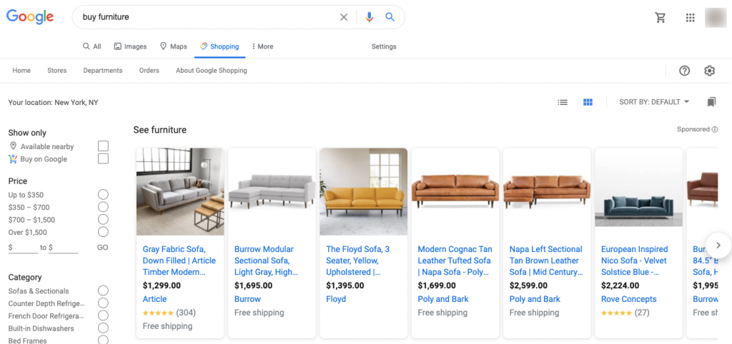 Google Shopping tab with products to buy