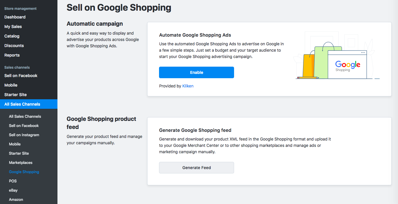 google shopping dans Ecwid