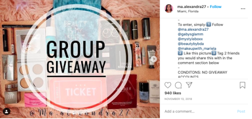 Group giveaways reach larger audiences and increase your chances to make the first sale