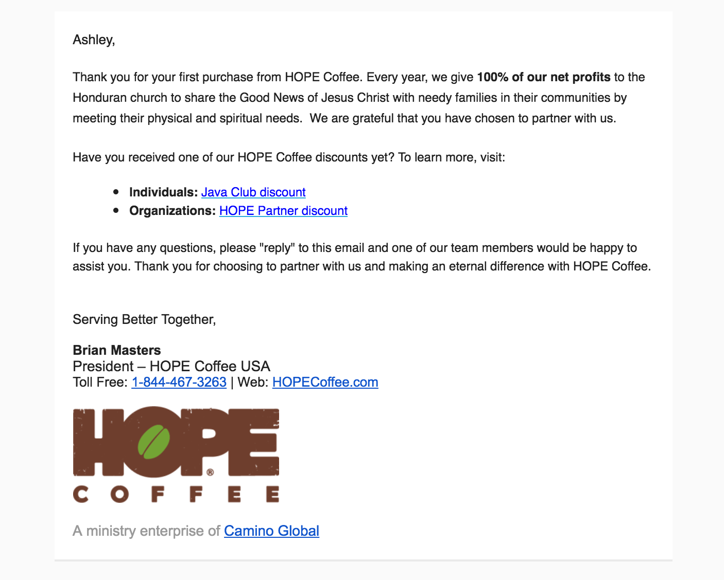 Hoop Koffie e-mail marketing