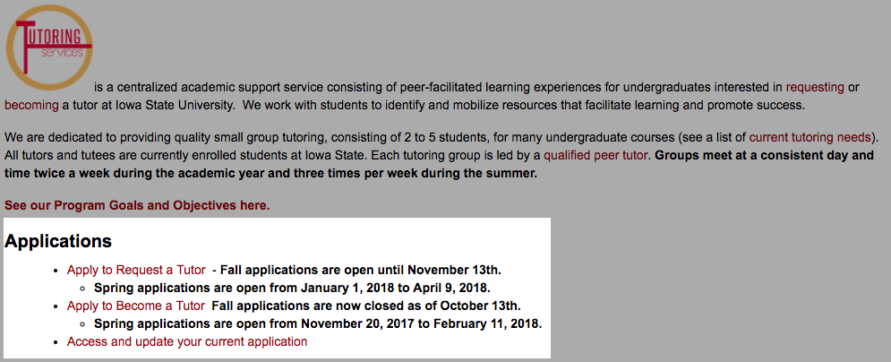 You can apply to become a tutor in Iowa State University