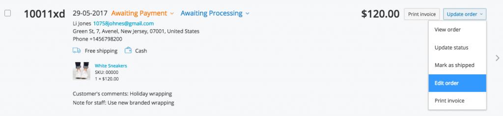 Verbesserte Bestellung Editor in Ecwid
