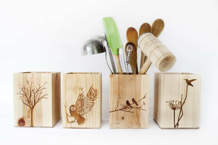 Laser etched wood boxes by Reclaim Design
