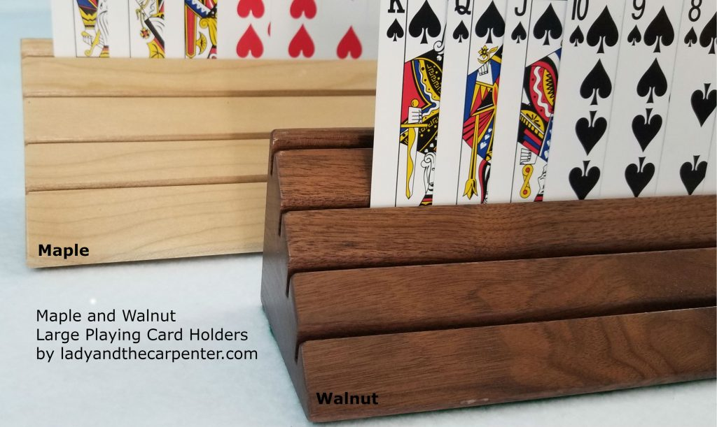 Maple and Walnut large card holders