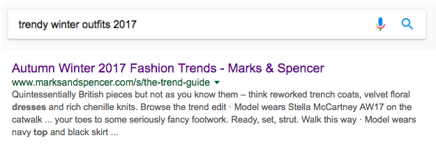 Marks & Spencer's content shows up on Google