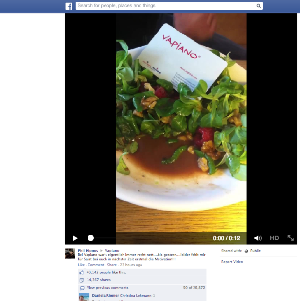 Facebook post con bruco in insalata