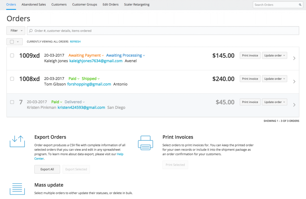 New Sales page in Ecwid