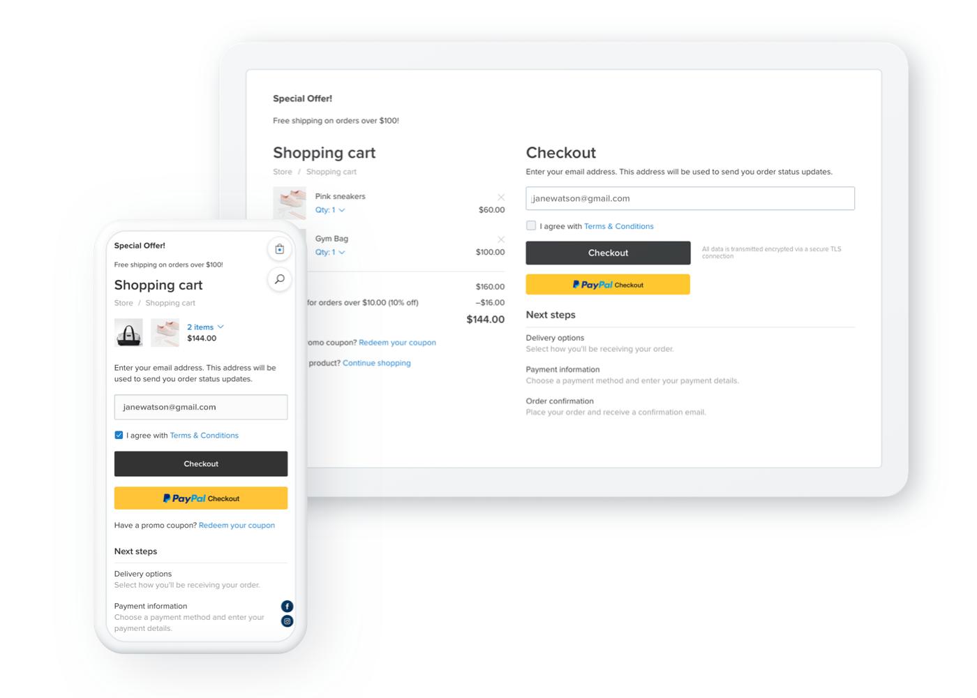 Neue Kasse Seite Handy Responsive Design
