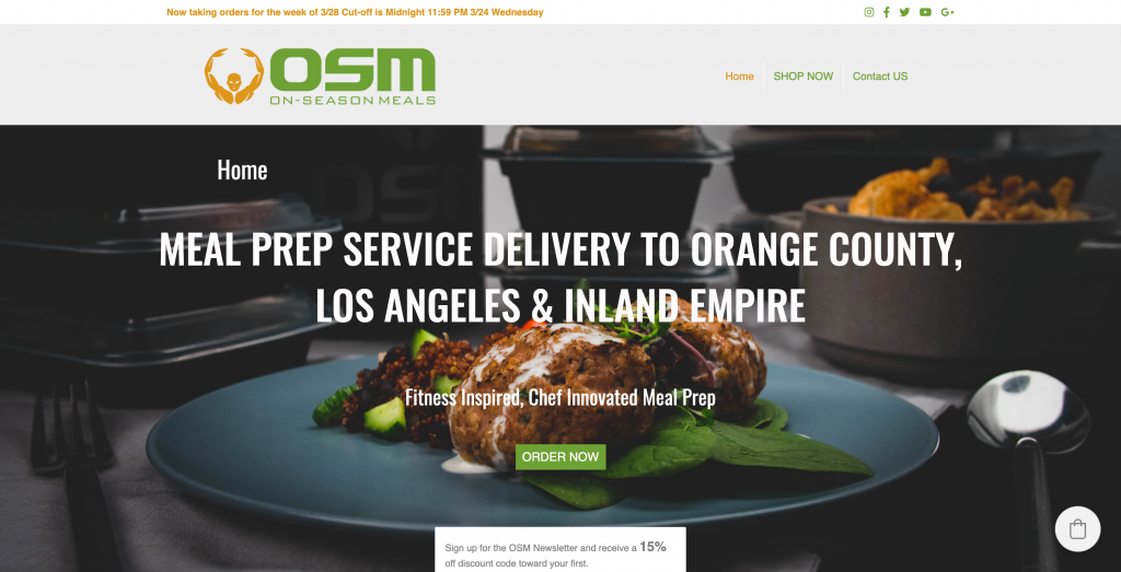On-Season Meal (OSM) Ecwid Store