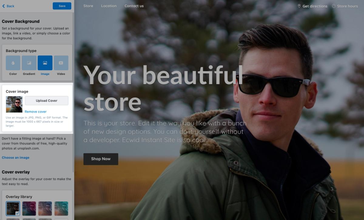Instant Site editor
