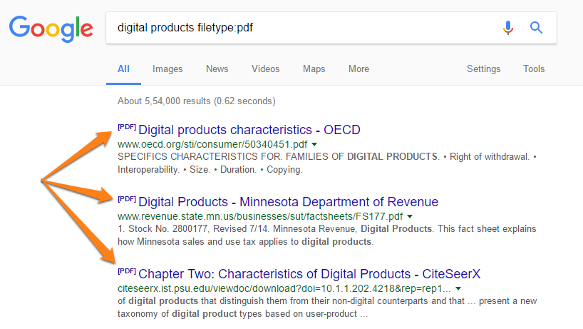 PDF files in Google search results