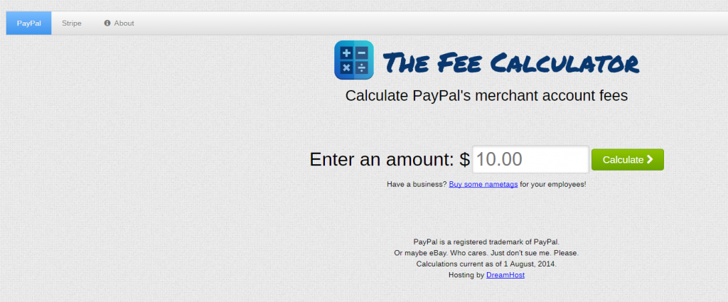 PayPal en Stripe fee calculator, De Fee Calculator