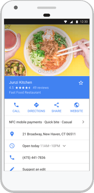 Example of a Google business listing
