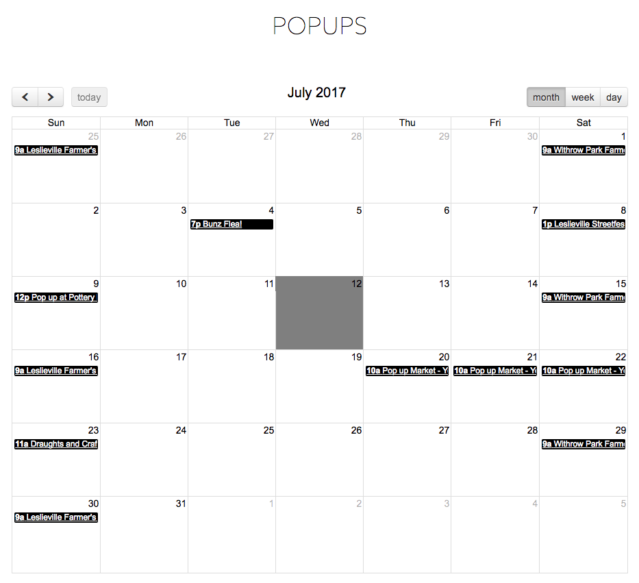 Corktown pop-up schedule integrated with Google Calendar
