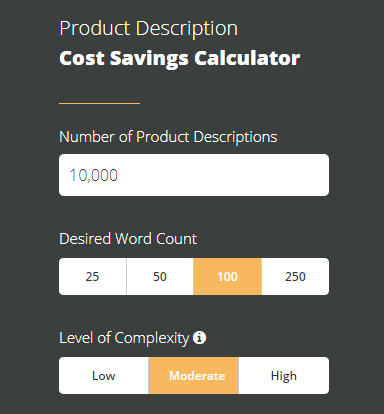 Product description cost calculator, OneSpace