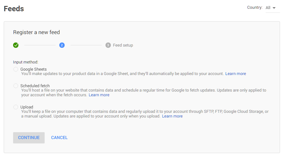 El registro de un feed en Google Shopping
