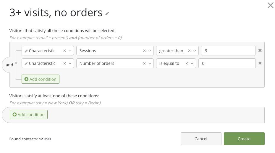 Sample settings for segmentation by visitor behavior