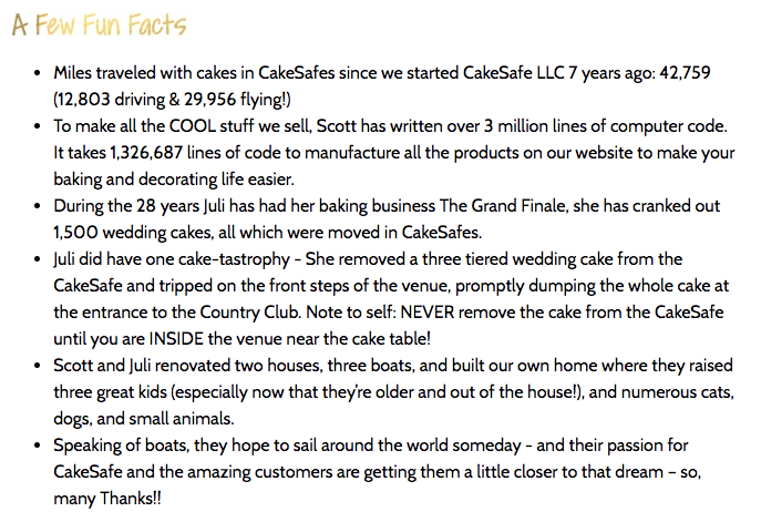 CakeSafe brand story fun facts