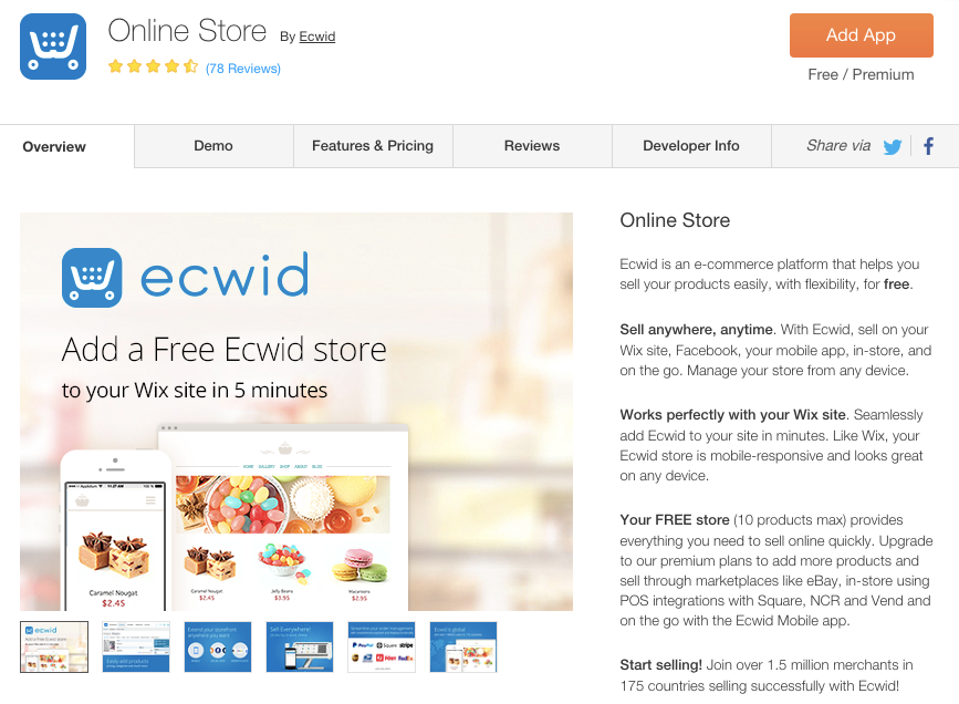 View of Ecwid in the Wix App Market