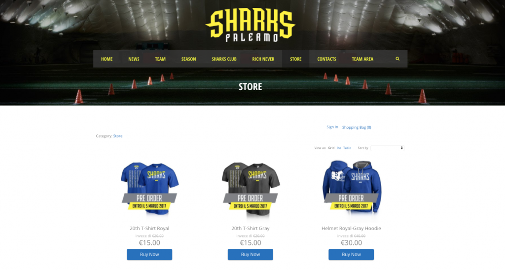 Sharks Palermo's Ecwid store on WordPress