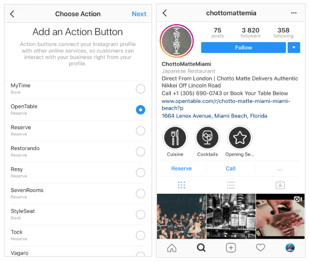 Instagram for business: ctas