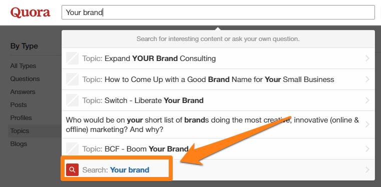Buscar su marca en Quora