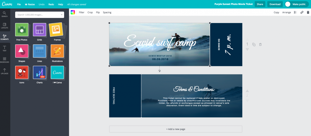 making eticket in canva