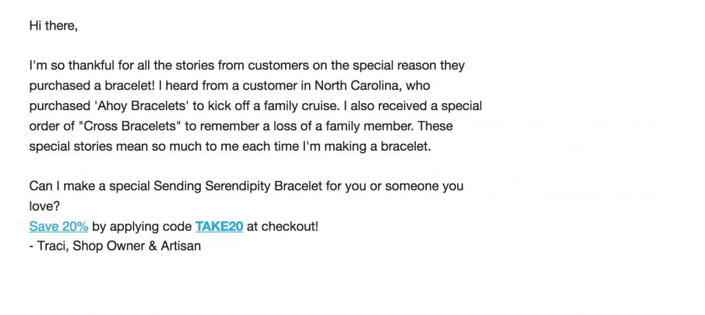 L'envoi des remises Serendipity