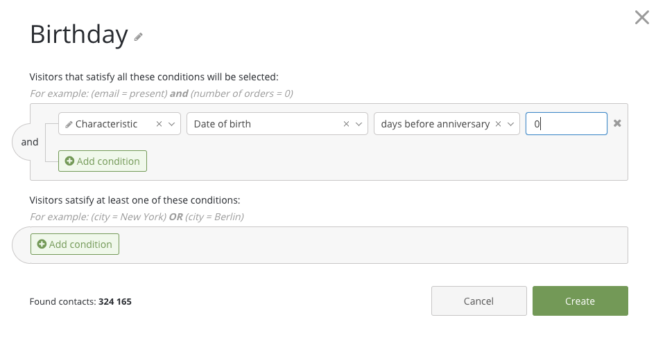 Impostazione segmento di clientela in base alla data di nascita