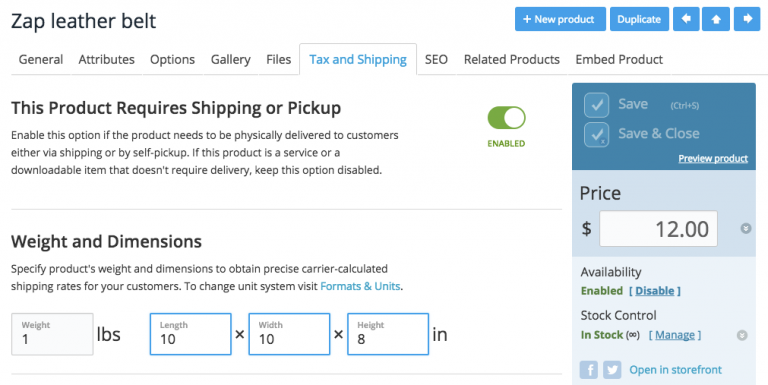 Shipping dimensions in Ecwid