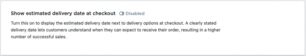 Shipping with Estimated delivery dates