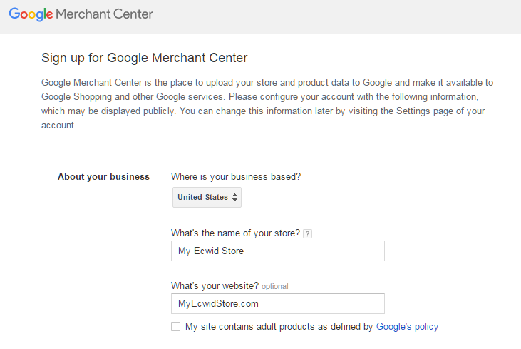 Signing up to Google Shopping Merchant Center