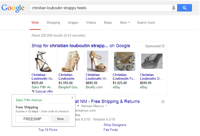 Special offers on Google Shopping