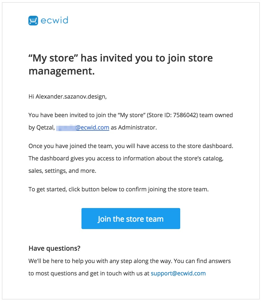 Staff account email notification