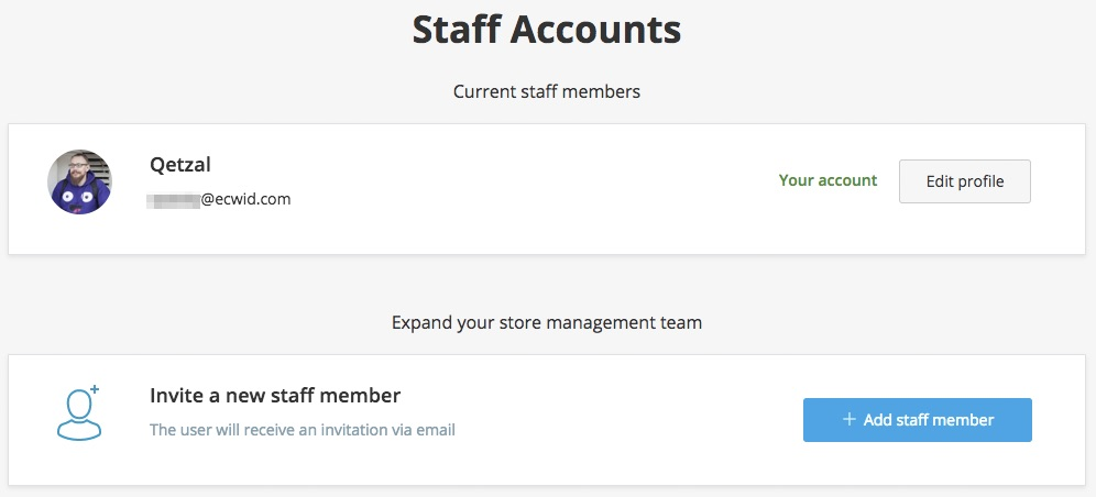 Personal Accounts in Ecwid
