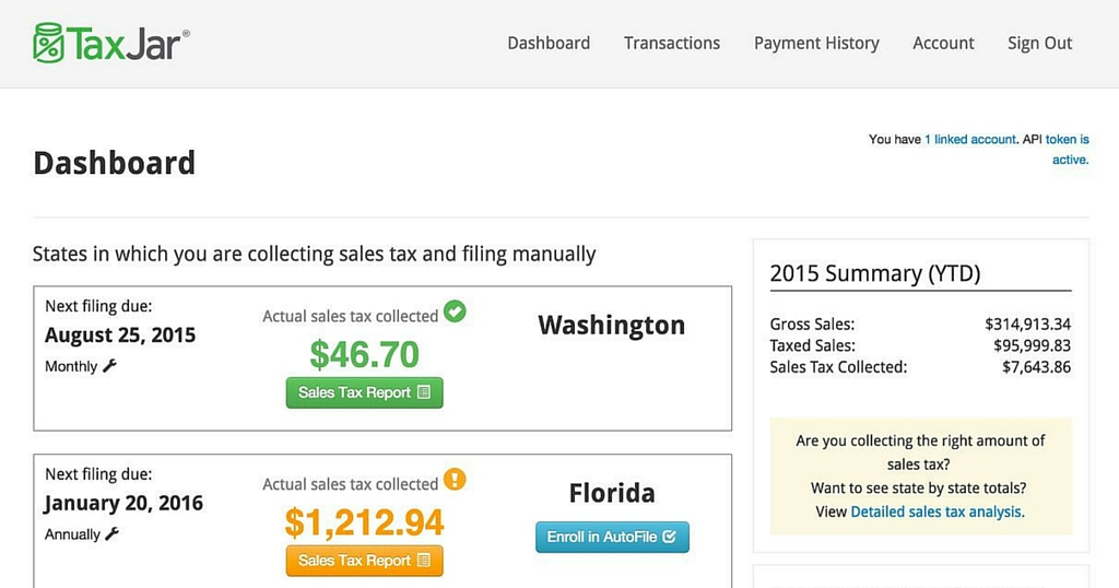 TaxJar Automated Sales Tax Reports