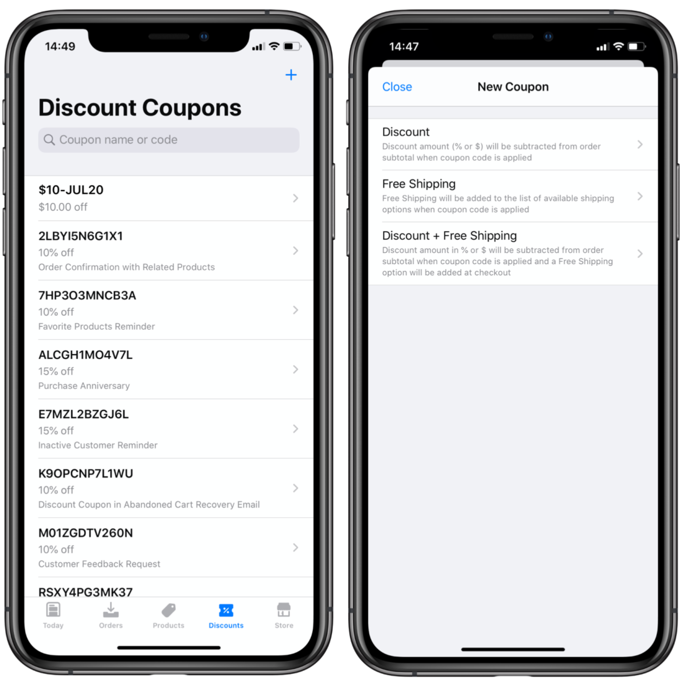 Ecwid mobile app coupon editor