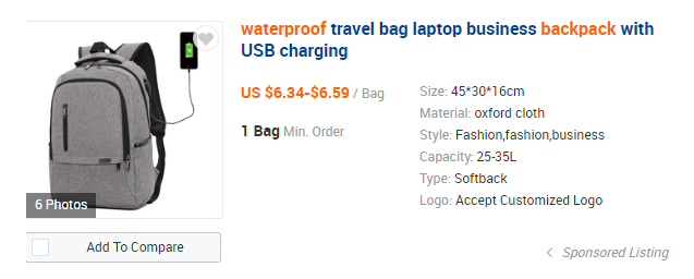 Wateroproof ransel Alibaba